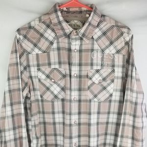 Guess Mens Pink and Gray Plaid